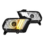 Faróis Chrome Sequencial LED DRL Bar Projector - para Mustang 2010-2012 - Part Number PRO-YD-FM2010V2-HID-C