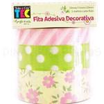 Fita Adesiva Decorativa Flores e Poa - Toke Crie