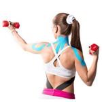 Fita Kinesio Muscle Fix 5x25cm Pré Cortada Cor Azul - Hc138