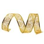Fita Natal P/laço 3,8cmx9,14m Caracol Dourado