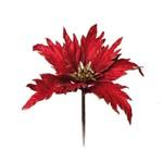 Flor Artificial Decoração Natal Poinsetia Glitter Vermelha