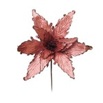 Flor Artificial Decoração Natal Poinsetia Rosa