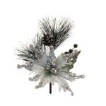Flor Decoração Natal P/árvore Natal 8cm Prata