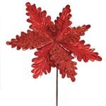 Flor Decoração Natal P/árvore Natal C/glitter 28cm Vermelho