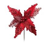 Flor Decoração Natal Poinsetia Glitter Vermelho