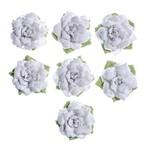 Flores Artesanais Rosas Brancas Coleção Algodão Doce Flor156 - Toke e Crie