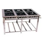 Fogão Industrial Maxi Inox 6 Bocas 3 Duplas 40x40 Baixa Pressão - MI6D3 - Venâncio