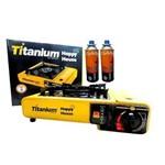Fogareiro Fogão Camping Portátil Titanium + 2 Lata Refil Gás