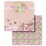 Folha para Scrapbook Duplo Litocart 30,5 X 30,5 Cm - Modelo Lscd-211 Bicicletas, Flores e Borboletas