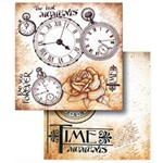 Folha para Scrapbook Duplo Litocart 30,5 X 30,5 Cm - Modelo Lscd-214 Relógio e Flores