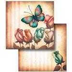 Folha para Scrapbook Duplo Litocart 30,5 X 30,5 Cm - Modelo Lscd-264 Flores e Borboleta