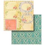 Folha para Scrapbook Duplo Litocart 30,5 X 30,5 Cm - Modelo Lscd-270 Flores e Tags