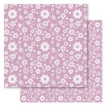 Folha para Scrapbook Duplo Litocart 30,5 X 30,5 Cm - Modelo Lscds-12 - Floral Rosa e Branco