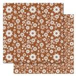 Folha para Scrapbook Duplo Litocart 30,5 X 30,5 Cm - Modelo Lscds-11 - Floral Marrom e Branco