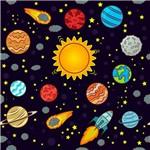Folha para Scrapbook Estampado Litocart 30,5 X 30,5 Cm - Modelo Lsce-30 - Planetas e Foguetes