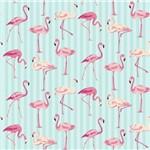 Folha para Scrapbook Estampado Litocart 30,5 X 30,5 Cm - Modelo Lsce-07 - Flamingos e Listras