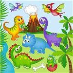 Folha para Scrapbook Estampado Litocart 30,5 X 30,5 Cm - Modelo Lsce-27 - Bebês Dinossauros