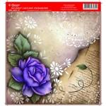 Folha para Scrapbook Litocart Pequena 16,5 X 16,5 Cm – Modelo Lscp-07 - Flores e Rend