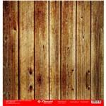 Folha para Scrapbook Simples Litocart 30,5 X 30,5 Cm - Modelo Lsc-277 - Madeira Ripada