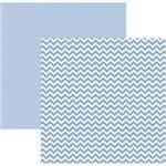 Folha Scrapbook Básico Chevron Azul Serenety Ref.19966-KFSB425 Toke e Crie
