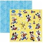 Folha Scrapbook Dupla Face a Casa do Mickey 2 Recortes Ref.19688-SDFD104 Toke e Crie