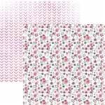 Folha Scrapbook Dupla Face Floral Botão de Rosas Delicadas Ref.20822-SDF829 Toke e Crie