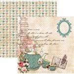 Folha Scrapbook Dupla Face Hora do Chá Xícaras e Bule Ref.17996-SDF663 Toke e Crie