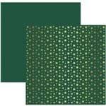 Folha Scrapbook Metalizada Estrelas Natalinas Dourado FD Verde Ref.20183-SDF745 Toke e Crie