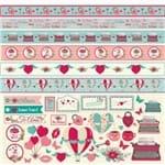 Folha Scrapbook Mini Básico Momentos de Amor Recortes e Faixas Ref.21172-SMB051 Toke e Crie
