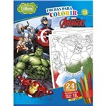 Folhas para Colorir Avengers Grande com Giz de Cera 24 Folhas Tilibra