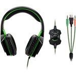Fone de Ouvido Headset Warrior USB P2 Auxiliar Dual Shock Green Led - Multilaser