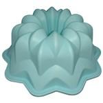 Forma de Silicone com Furo 26,5 Cm Flor Gerbera Azul Claro