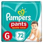 Fralda Pampers Pants Ajuste Total Giga Tamanho G com 72 Unidades