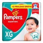 Fralda Pampers Supersec Tamanho XG Pacotão Econômico com 22 Fraldas Descartáveis + 2 Fraldas Grátis