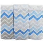 Fralda para Bebê Luxo Chevron Masculina Azul Kit com 3 Unidades