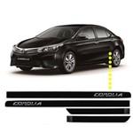 Friso Lateral Corolla Preto Fosco - Nome Cromado (4 Portas)