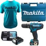 Furadeira Impacto Parafusadeira 2 Baterias 12v Makita Hp331 Dwye Bivolt C Camiseta M