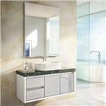 Gabinete Banheiro Savana Glass Gaam Suspenso + Cuba Quadrada + Bancada Granito + Espelho 103,5cm