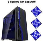 Gabinete Gamer Bluecase Bg-009 Black USB 3.0 + 3 Cooler Led Azul