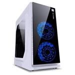 Gabinete Gamer Vx Gaming Crater com Janela Acrílica Branco com 2 X Fan Frontal 120mm 15 Pontos de Le