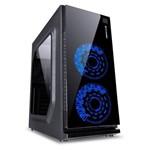 Gabinete Gamer Vx Gaming Crater com Janela Acrílica Preto com 2 X Fan Frontal 120mm 15 Pontos de Led Azul