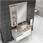 Gabinete para Banheiro Suspenso com Espelheira e Tampo de Granito Gaam Versa Pietra 75Cm - Grigio/BR
