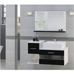 Gabinete para Banheiro Tróia Preto com Cuba e Espelheira