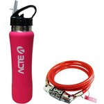 Garrafa Squeeze Térmica 500ml Rosa Acte C23 + Cadeado Vermelho para Bicicleta com Segredo Acte A21