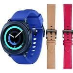 Gear Sport Azul + Pulseira Couro Bege + Pulseira Couro Pink