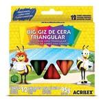 Giz de Cera Triangular 12 Cores Acrilex Pacote com 12 Unidades