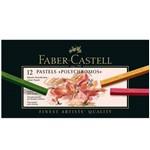 Giz Pastel Seco Polychromos Faber-Castell com 12 Cores - Estojo Cartão - Ref 128512