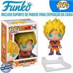 Goku Super Sayajin SSJ Dragon Ball Super DBZ DB Boneco Funko Pop #14 + Suporte de Parede