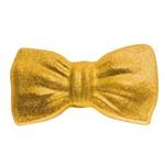 Gravata Borboleta com Glitter Carnaval Acessório Dourado