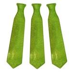 Gravata Plástica Glitter Verde C/ 12 Unidades